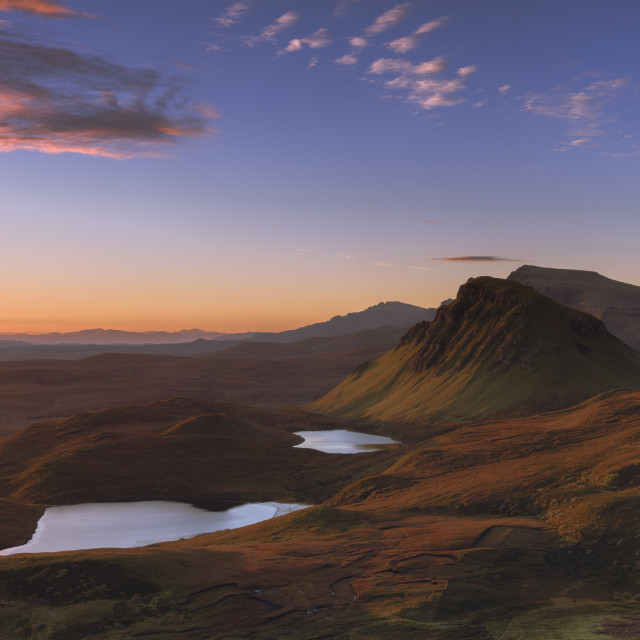 """""""Looking south along the Trotternish peninsula to Cleat with the sun raking..."""" stock image"""