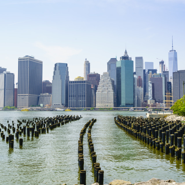 """Manhattan skyline viewed from Brooklyn Bridge Park, New York City, United..."" stock image"