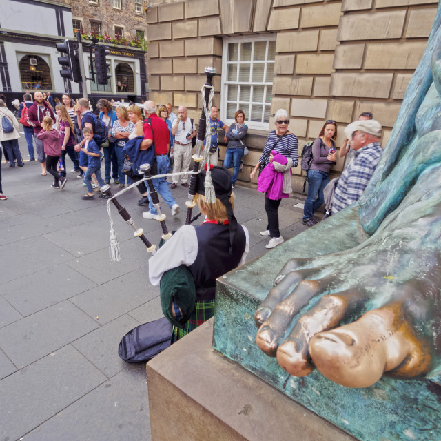 """Fringe Festival on The Royal Mile, Old Town, Edinburgh, Lothian, Scotland,..."" stock image"