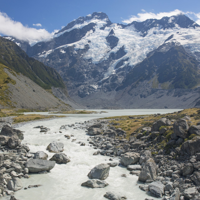 """View along the Hooker River to Mount Sefton, Aoraki (Mount Cook) National..."" stock image"