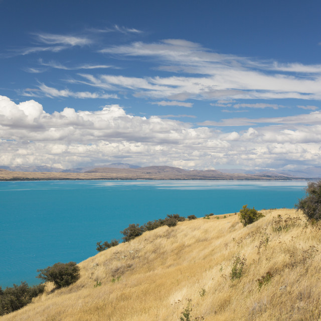 """View across the turquoise waters of Lake Pukaki, near Twizel, Mackenzie..."" stock image"