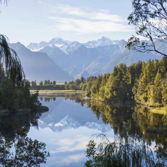 """""""Mount Tasman and Aoraki (Mount Cook) reflected in Lake Matheson, Westland Tai..."""" stock image"""