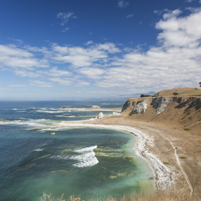 """View over the coastline of the Kaikoura Peninsula from the Kaikoura Peninsula..."" stock image"