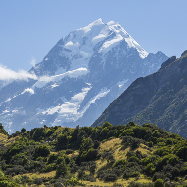 """View to Aoraki (Mount Cook), Mount Cook Village, Aoraki (Mount Cook) National..."" stock image"