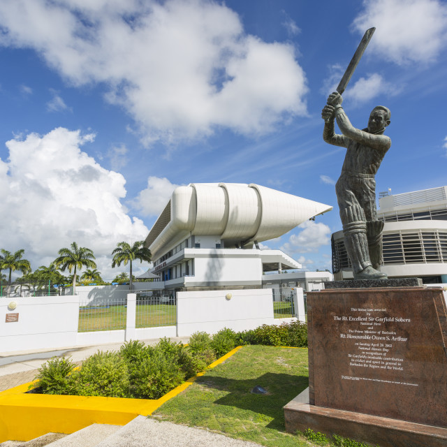 """Garfield Sobers statue and The Kensington Oval Cricket Ground, Bridgetown,..."" stock image"