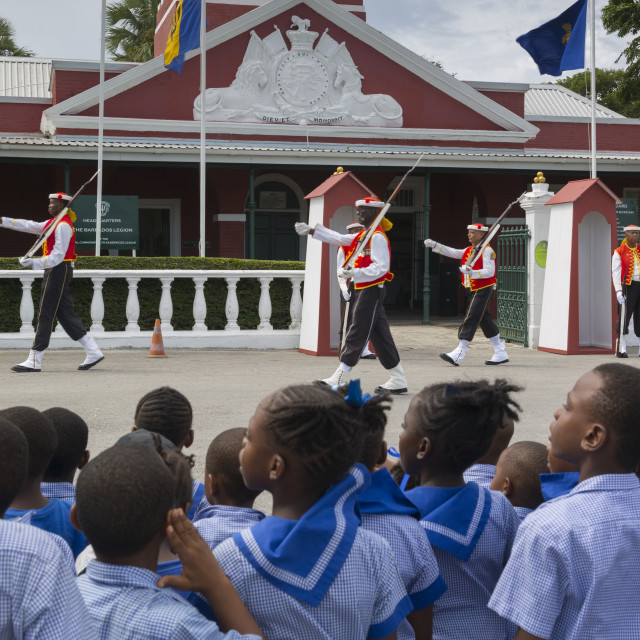"""""""Changing of the Guard, The Garrison, Bridgetown, Christ Church, Barbados,..."""" stock image"""