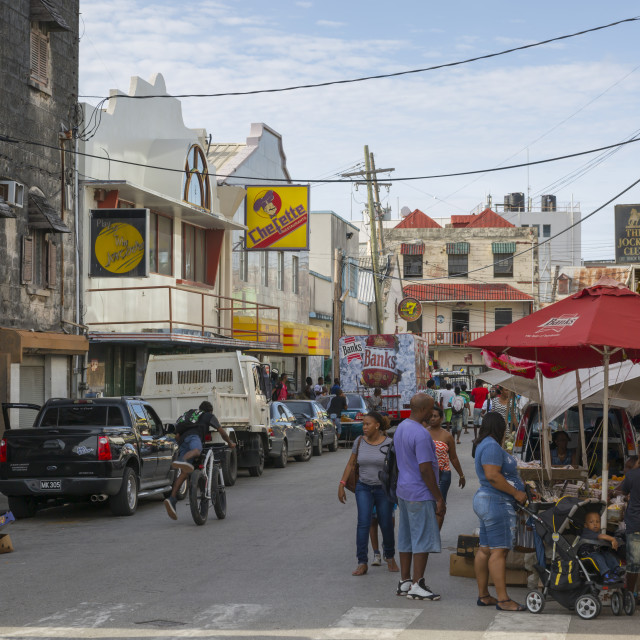 """Street scene, Bridgetown, St. Michael, Barbados, West Indies, Caribbean,..."" stock image"