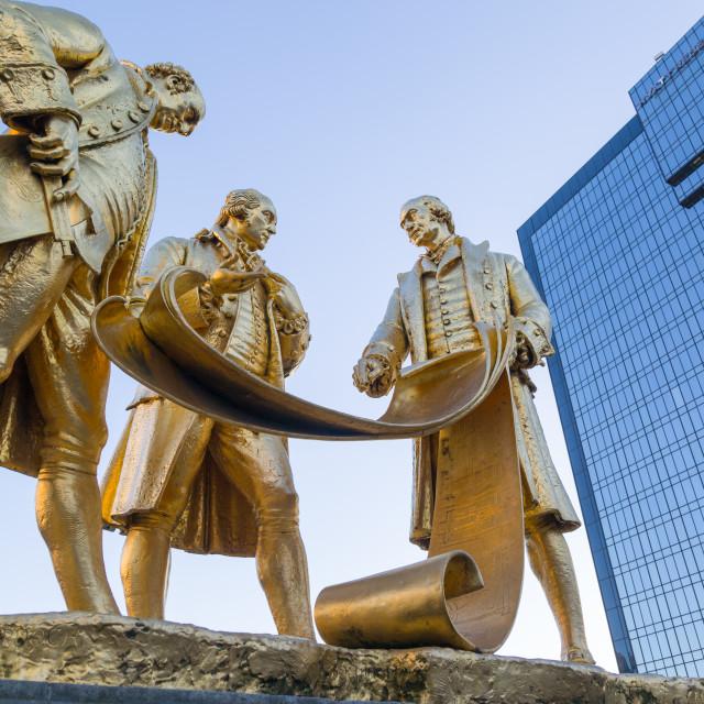 """Boulton, Murdoch and Watt Statue, Birmingham, West Midlands, England, United..."" stock image"