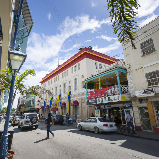 """""""Architecture on Broad Street, Bridgetown, St. Michael, Barbados, West Indies,..."""" stock image"""