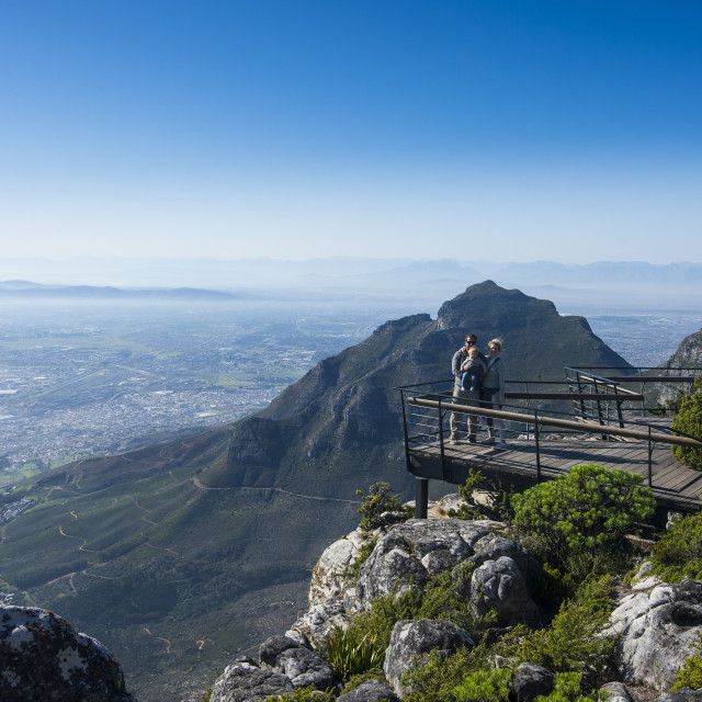 """""""Family enjoying the view from Table mountain ove Cape town, South Africa"""" stock image"""