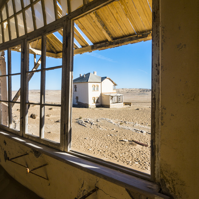 """Window of an old colonial house, old gold mine, Kolmanskop or coleman´s..."" stock image"