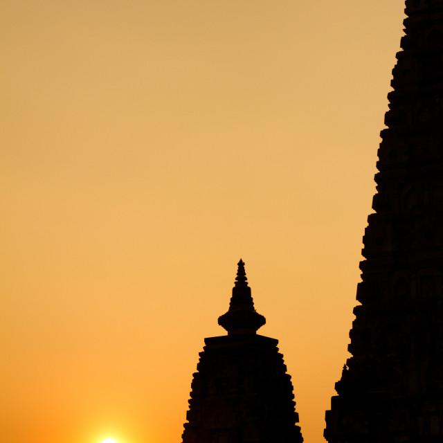 """The Mahabodhi Temple of Bodh Gaya,India at Puja festival"" stock image"