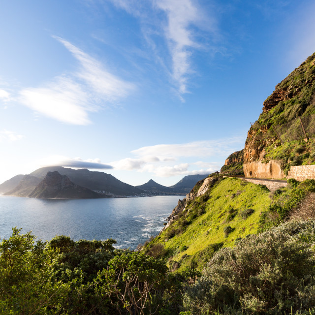 """Motorbike on Chapman's Peak Drive, Hout Bay, Cape Peninsula, Western Cape,..."" stock image"
