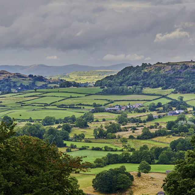 """""""View to the North from triangulation point, Cartmel Fell, South Lakeland,..."""" stock image"""