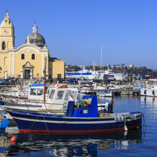 """""""Procida Porto, Marina Grande boats and Santa Maria della Pieta church,..."""" stock image"""