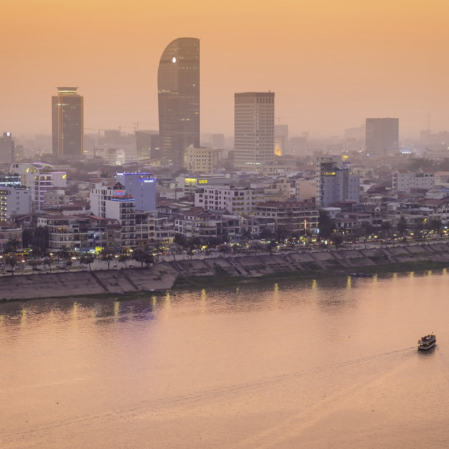 """Asia, South East Asia, Cambodia, Phnom Penh skyline"" stock image"