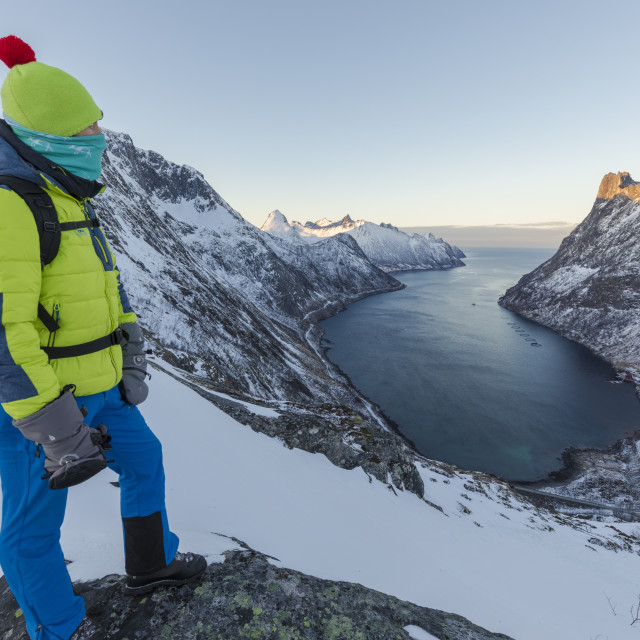 """""""Hiker on top of the crest admires the village of Fjordgard framed by the..."""" stock image"""
