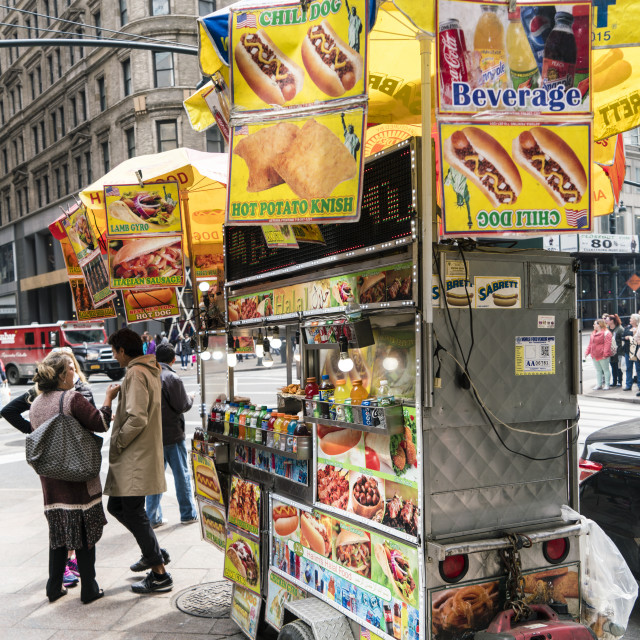 """Street food cart, Manhattan, New York City, USA"" stock image"