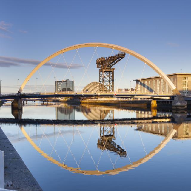 """The Clyde Arc Bridge (Squinty Bridge), Glasgow, Scotland, United Kingdom,..."" stock image"