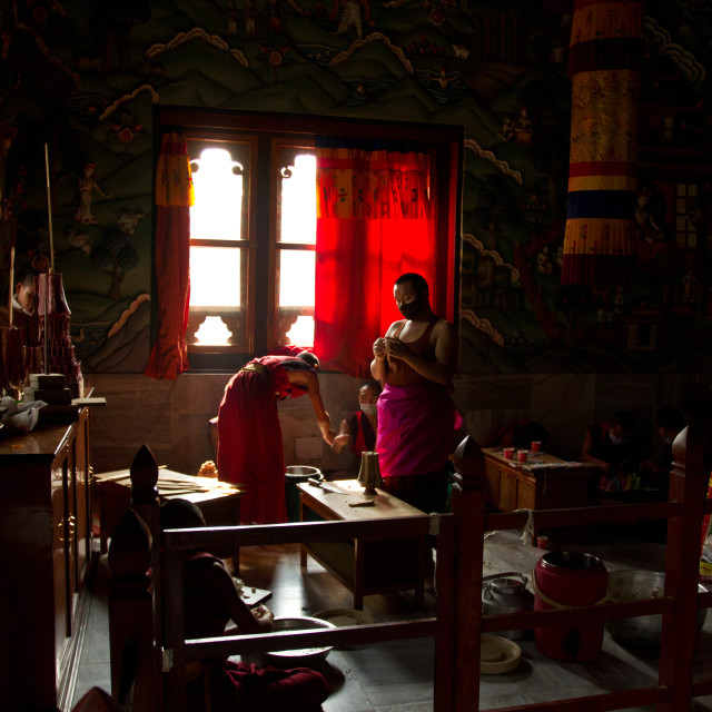"""Buddhist Monks from Bhutan make candles in their Bhutan Temple in Bodh Gaya,..."" stock image"