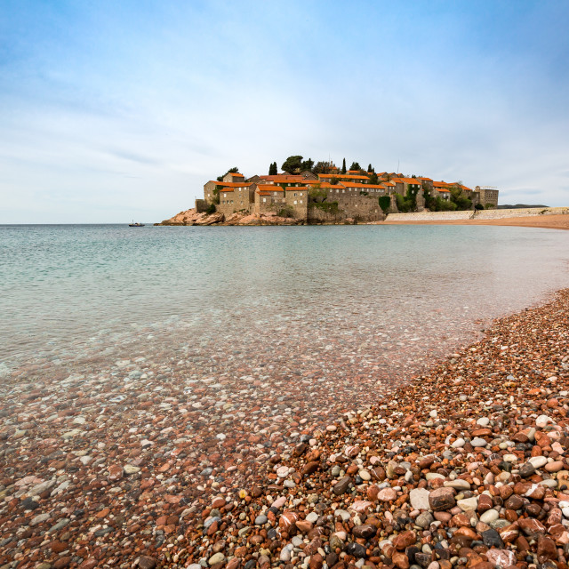 """The 5-star hotel resort of Aman Sveti Stefan set on a small islet on the..."" stock image"