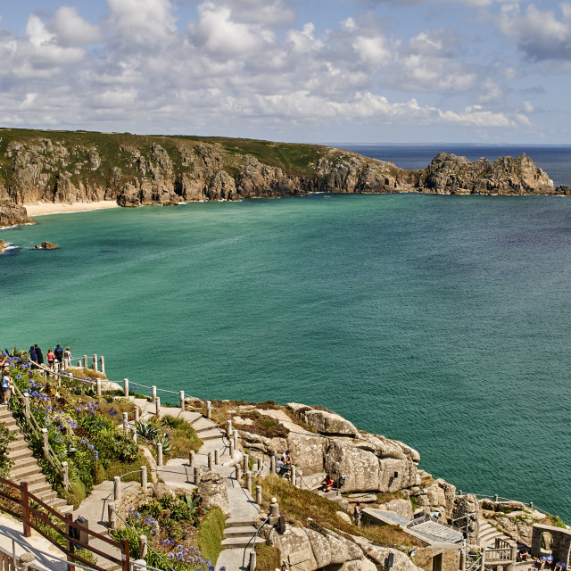 """""""View over the Minack Theatre to Porthcurno beach near Penzance, West Cornwall."""" stock image"""