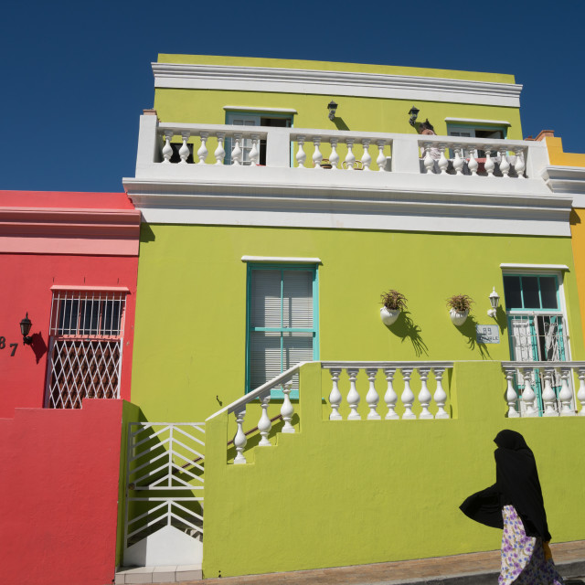 """""""Brightly coloured houses in Bo-Kaap area (Malaysian/Muslim) with silhouetted..."""" stock image"""