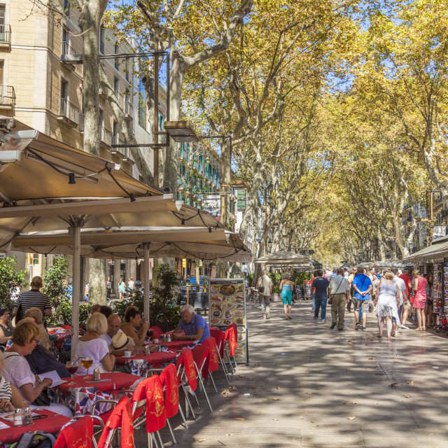 """Pavement cafe restaurant on La Rambla or Las Ramblas boulevard the promenade..."" stock image"