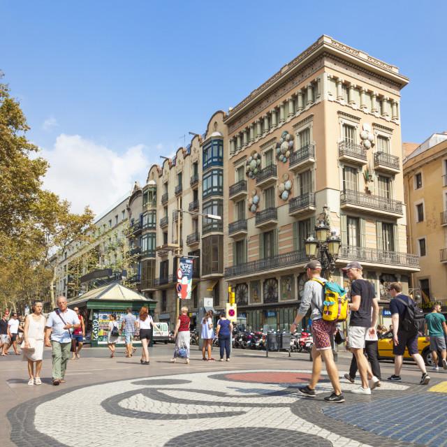 """The Barcelona Miro mosaic on La Rambla or Las Ramblas boulevard, the..."" stock image"