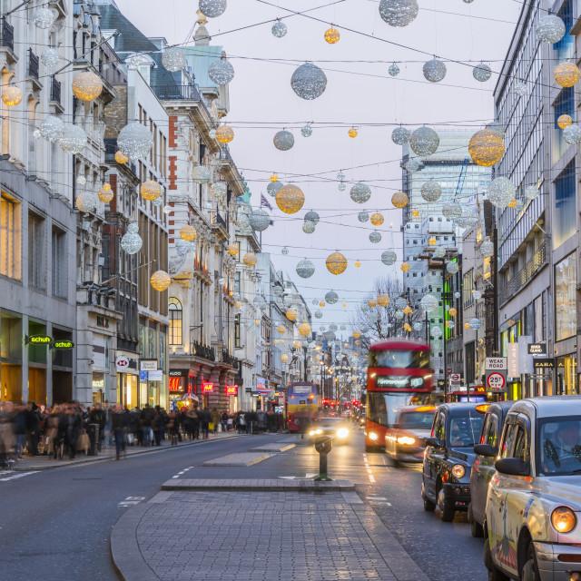 """UK, England, London, West End, Oxford Street, Christmas Lights"" stock image"