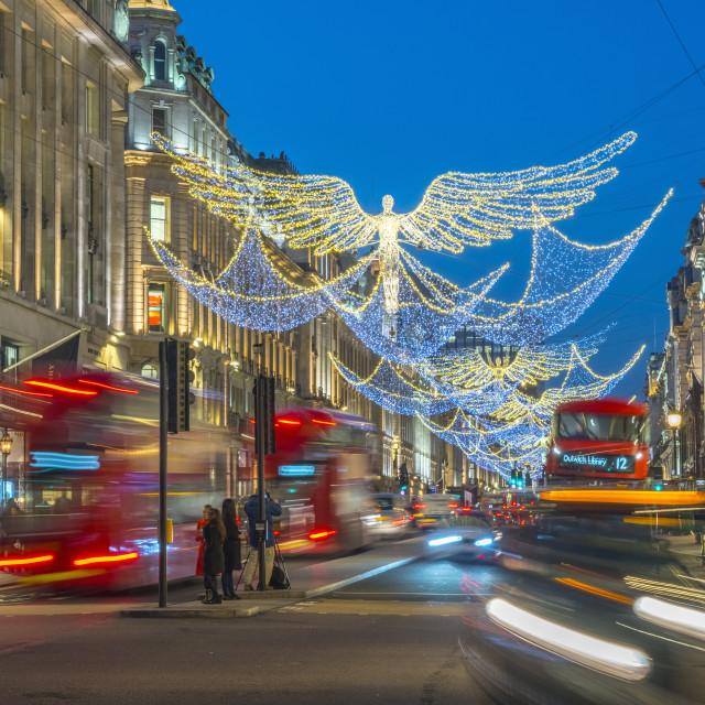 """UK, England, London, West End, Regent Street, Christmas Lights"" stock image"