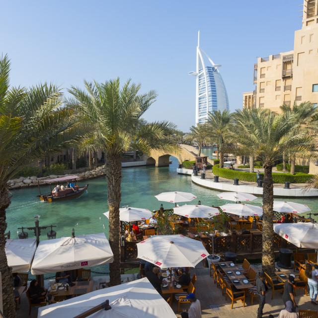 """View of Burj Al Arab from Madinat Jumeirah, Dubai, United Arab Emirates,..."" stock image"
