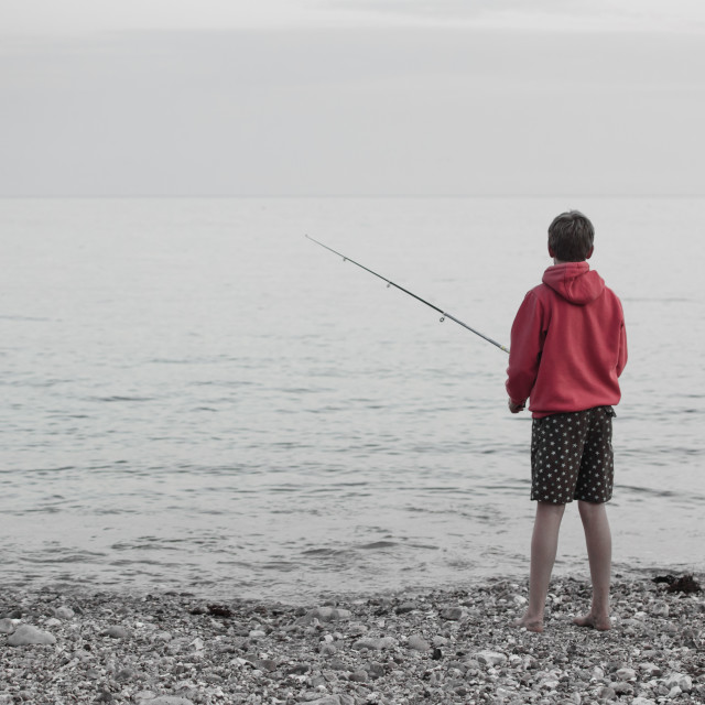 """Boy fishing"" stock image"