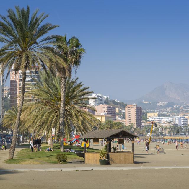 """Popular urban beach of Playa la Malagueta, Malaga, Costa Del Sol, Andalusia,..."" stock image"