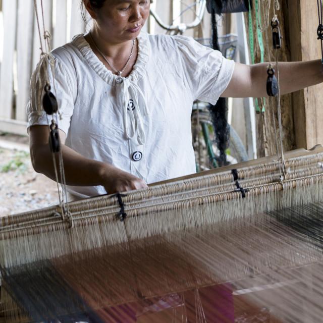 """Tai Lue tribal woman using a traditional loom, Chiang Mai, Thailand,..."" stock image"