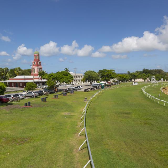 """Savannah Racecourse and Garrison Clock Tower, Christ Church, Barbados, West..."" stock image"
