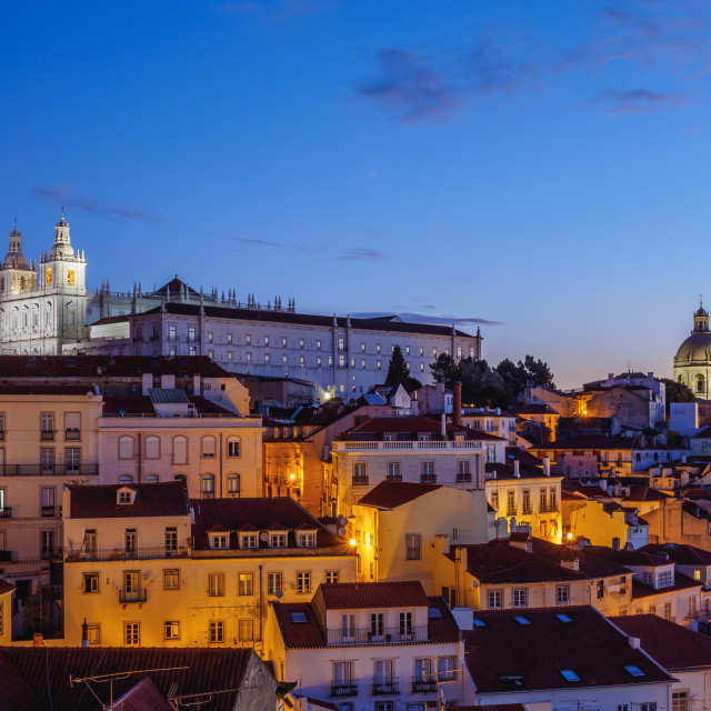 """Miradouro das Portas do Sol, twilight view over Alfama Neighbourhood towards..."" stock image"