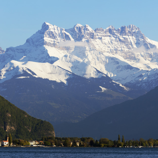 """Lake Geneva (Lac Leman) and Dent du Midi, 3257m, Villeneuve, Vaud,..."" stock image"