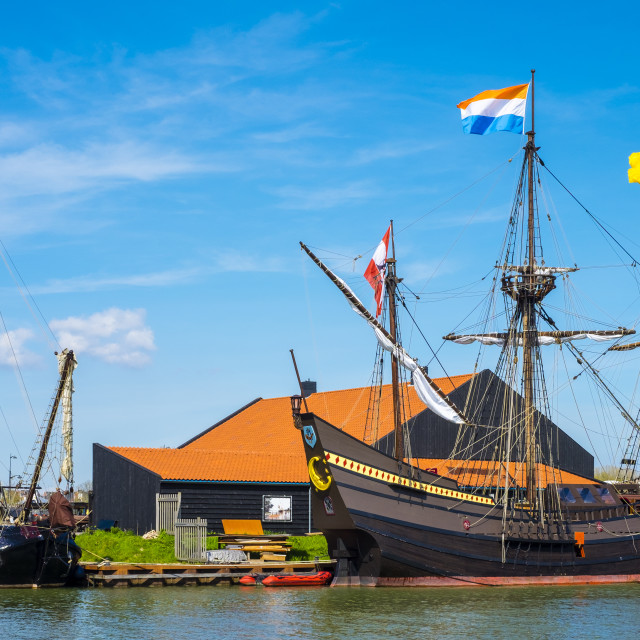 """Historic Dutch sailing ship in the Museumhaven, Centrum Varend Erfgoed Hoorn,..."" stock image"
