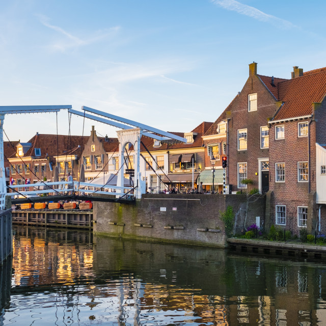 """""""Drawbridge and historic houses at the entrance of the Oude Haven (Old..."""" stock image"""
