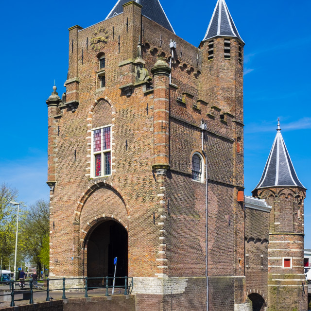 """""""The Amsterdamse Poort, former 14th century city gate, last remaining of..."""" stock image"""