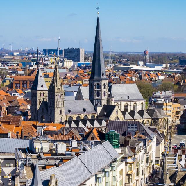 """""""View of Ghent old town from Het Belfort van Gent, the 14th century belfry,..."""" stock image"""