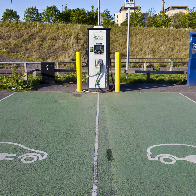 """Charging station for electric cars, Glasgow, Scotland, United Kingdom, Europe"" stock image"