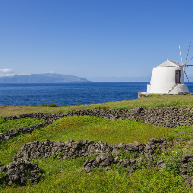 """Traditional windmill, Vila do Corvo, Corvo, Azores, Portugal, Atlantic, Europe"" stock image"
