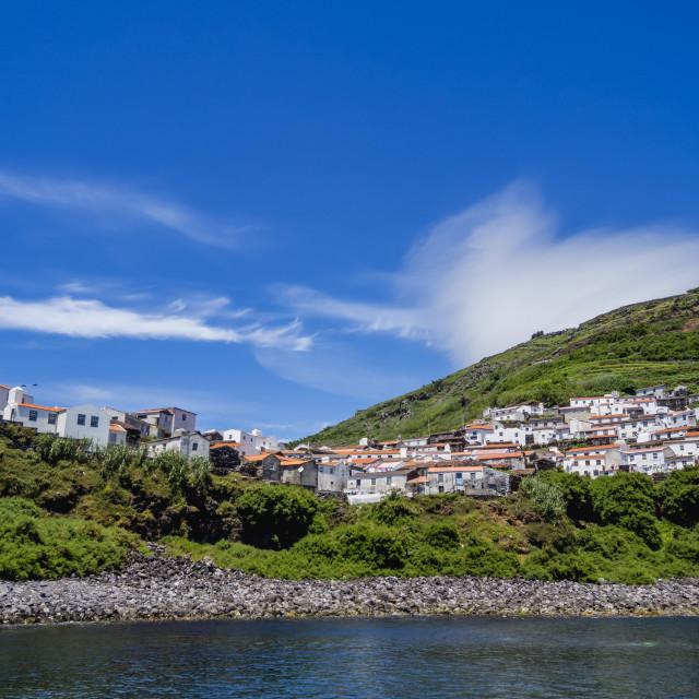 """View of the Vila do Corvo, Corvo, Azores, Portugal, Atlantic, Europe"" stock image"