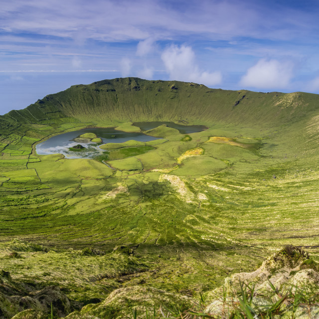 """Landscape of the Caldeirao do Corvo, Corvo, Azores, Portugal, Atlantic, Europe"" stock image"