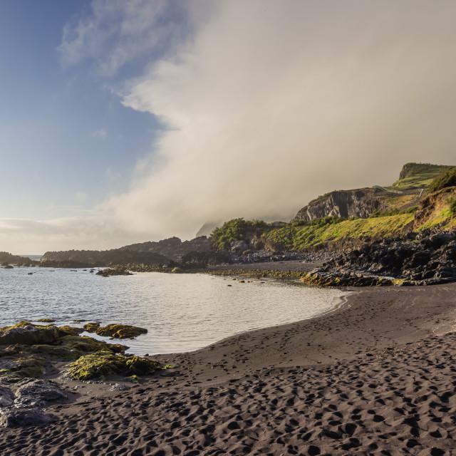 """Beach near Vila do Corvo, Corvo, Azores, Portugal, Atlantic, Europe"" stock image"