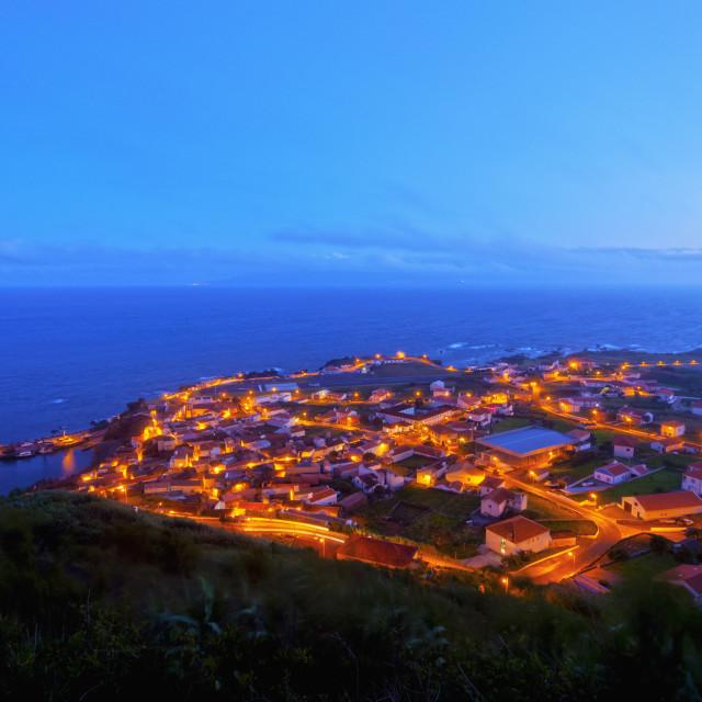 """Twilight view of the Vila do Corvo, Corvo, Azores, Portugal, Atlantic, Europe"" stock image"