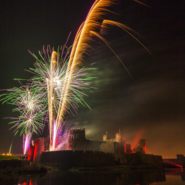 """Fireworks, Caerphilly Castle, Caerphilly, South Wales, United Kingdom, Europe"" stock image"
