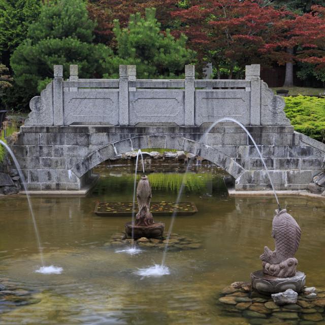 """International Buddhist Temple, Richmond, Vancouver, British Columbia, Canada,..."" stock image"